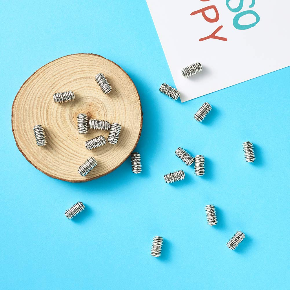 Craftdady 20Pcs Antique Silver Large Hole Column Spacer Beads 8mm Lead Free /& Cadmium Free /& Nickel Free Metal Flat Tube Loose Beads 5mm Hole Fit for European Charm Jewelry Necklace Making