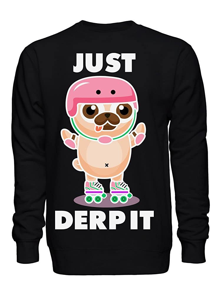 Just Derp It Adorable Pug On Rollerblades Unisex Crew Neck Sweatshirt