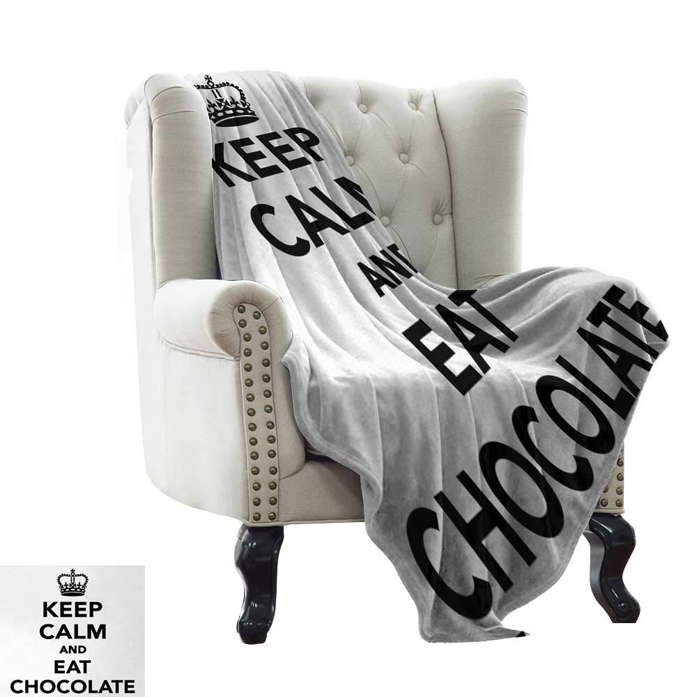color06 60 x62  Inch BelleAckerman Emergency Blanket Keep Calm,Do Yoga Quote in Girl Shape in Lotus Pose with Swirls and Calligraphy Art Text,Black White Lightweight Microfiber,All Season for Couch or Bed 50 x60