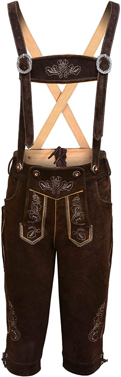 Mens Bavarian Real Leather with Matching Suspenders Shorts