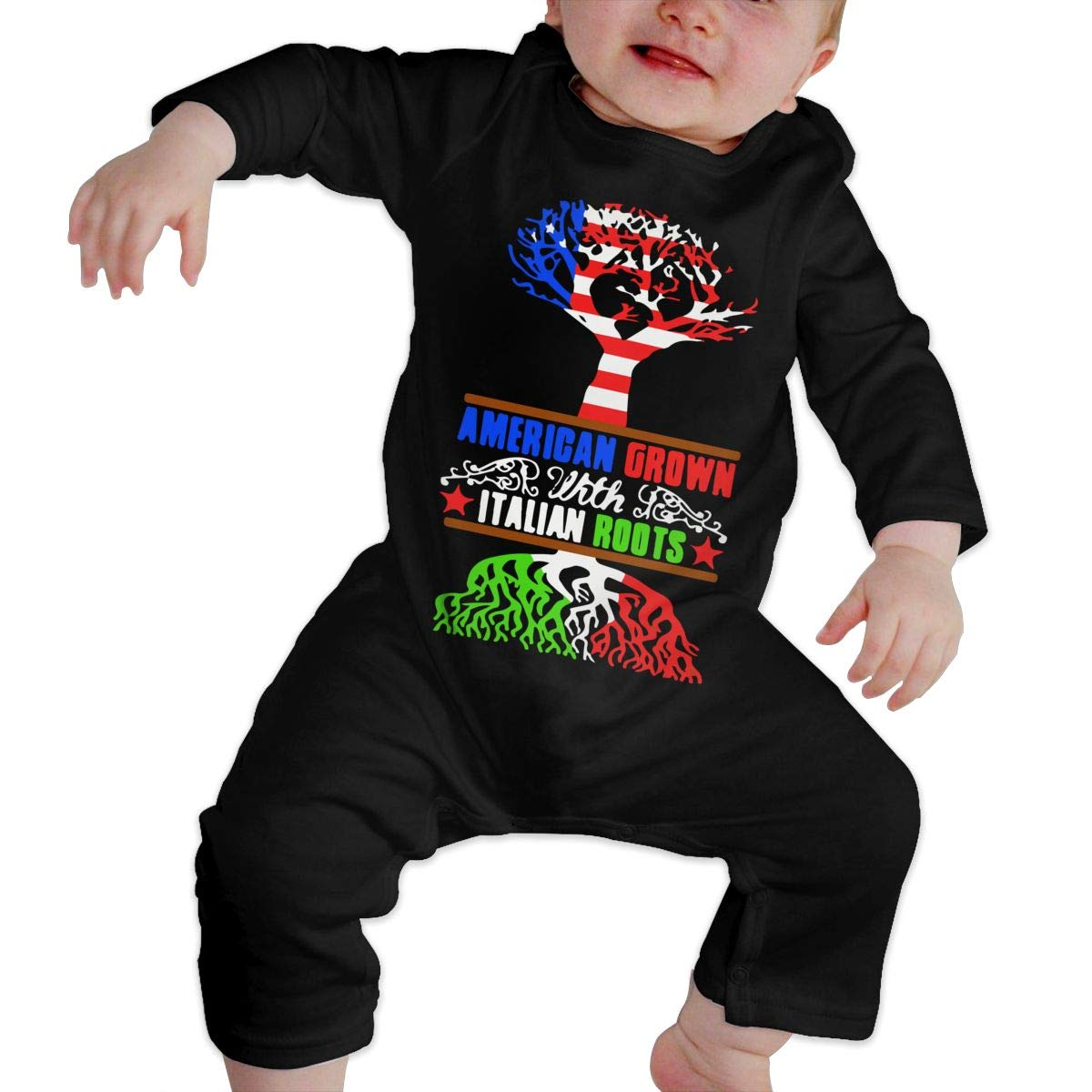 UGFGF-S3 American Grown Italian Roots Toddler Baby Long Sleeve Bodysuit Toddler Jumpsuit