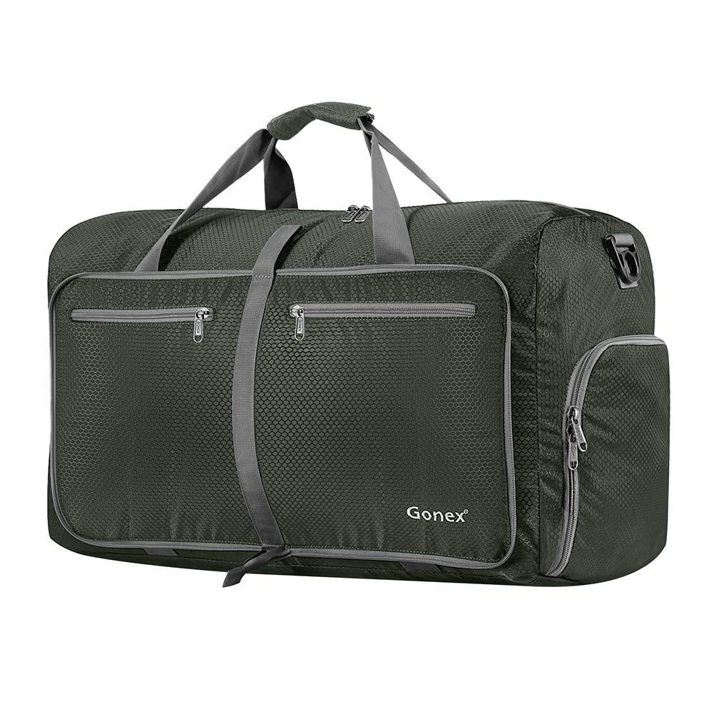 Gonex 60L Packable Travel Duffle Bag, Lightweight Water Repellent & Tear Resistant 14 Color Choices Black