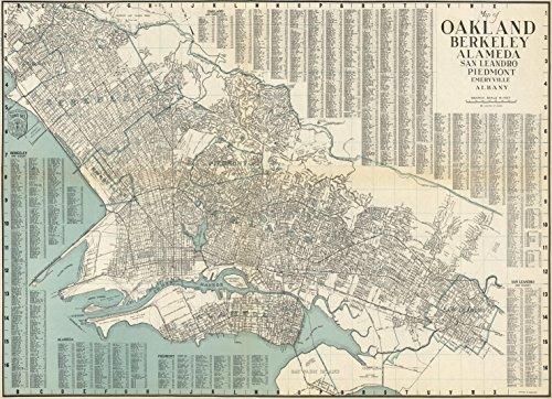 Map Poster - Map of Oakland, Berkeley, Alameda, San Leandro, Piedmont, Emeryville, Albany, California. - 24