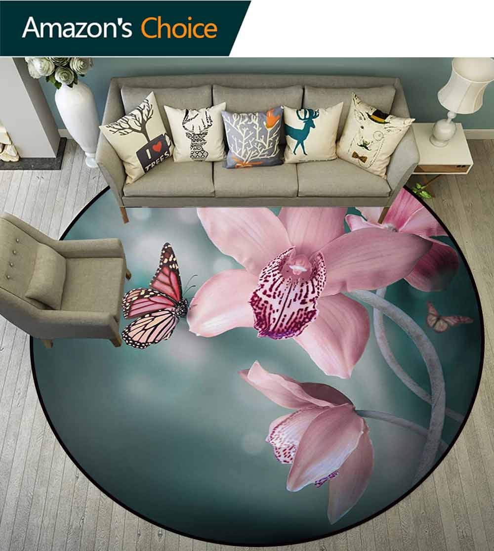 Floral Modern Round Abstract Area Rug,Orchid Flower With Butterfly Soft Fresh Spring Nature Theme Art Photo Non-Slip No-Shedding Kitchen Soft Floor Mat,Diameter-51 Inch Baby Pink And Jade Green