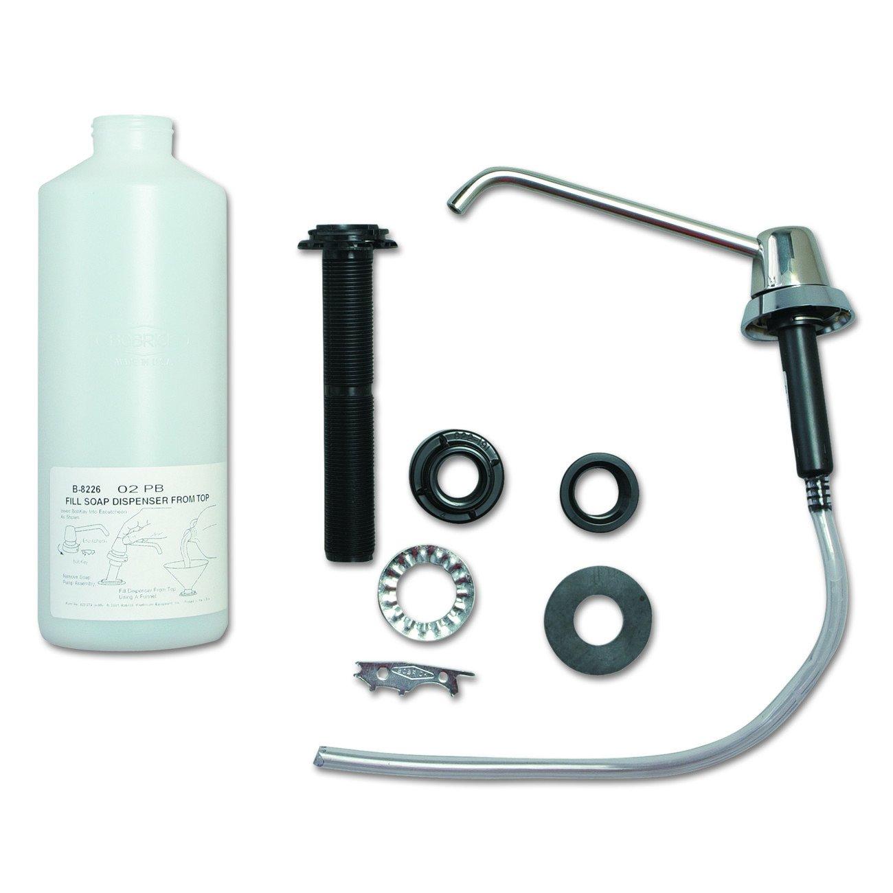 "Bobrick B-8226 34 fl oz Capacity, 4"" Thickness Lavatory-Mounted Soap Dispenser"