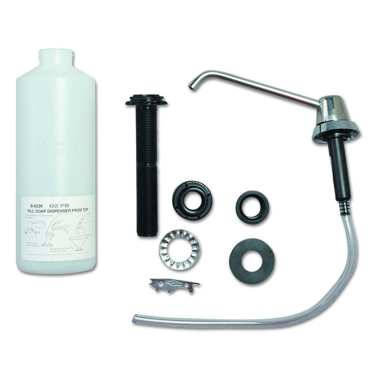 Bobrick B-8226 34 fl oz Capacity, 4'' Thickness Lavatory-Mounted Soap Dispenser