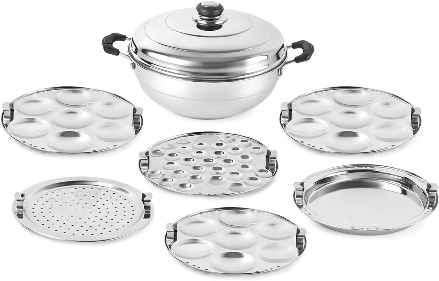 Cello Stainless Steel Multi Purpose Steamer/Cooker with Induction Base and 6 Plates, Set of 8