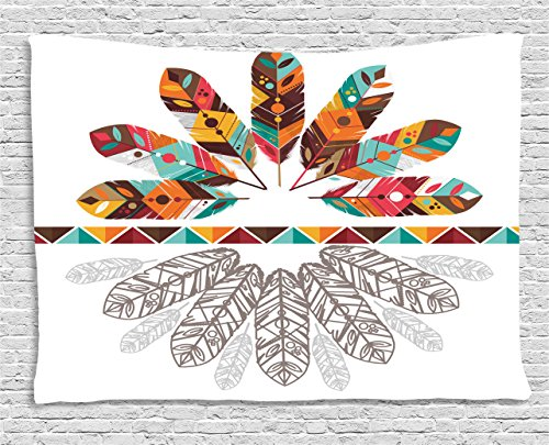 (Ambesonne Tribal Tapestry by, Colorful Native American Historical Aztec Feathers Boho Kitsch Folk Abstract Design, Wall Hanging for Bedroom Living Room Dorm, 60WX40L Inches, Multicolor)