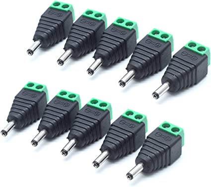 10pcs CCTV DC Power 5.5mm x 2.1mm Female To Male Cable Adapter Extension Cord 2M