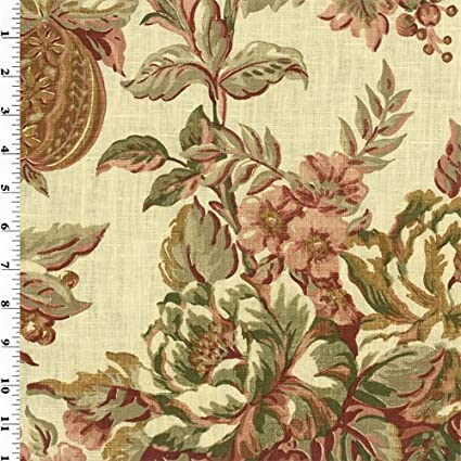Red/Green Printed Floral Vintage Linen Home Decorating Fabric, Fabric by  The Yard