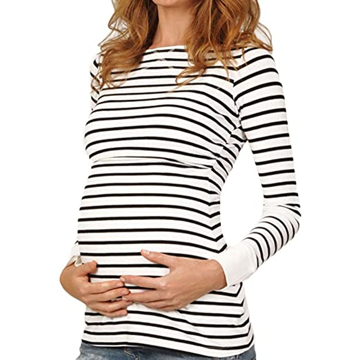 e7086eab20cbb Amazon.com: Sinfu Women Mom Pregnant Nursing Baby Maternity Long Sleeved  Stripe Tops Blouse Clothe: Clothing