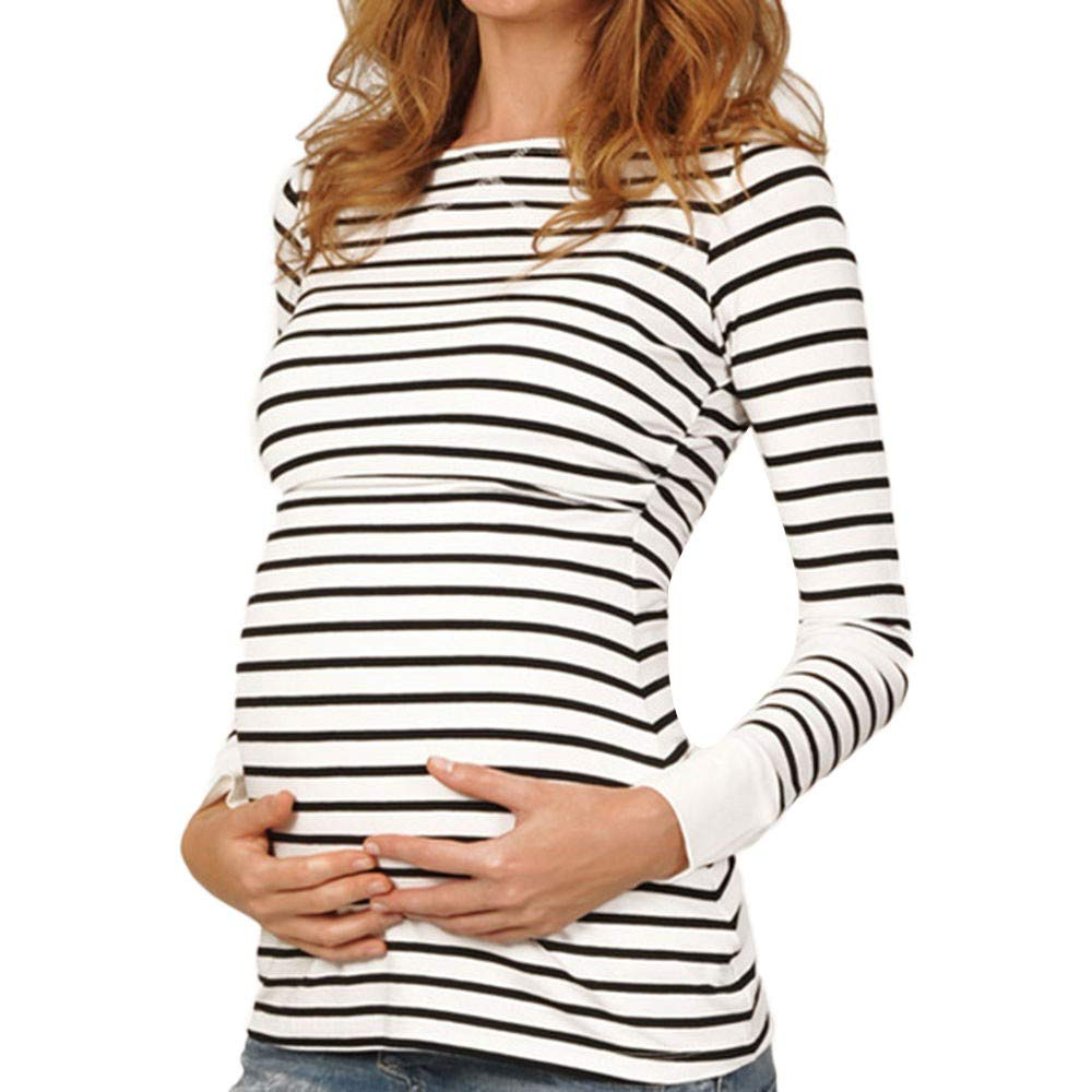 HEETEY Women Mom Pregnant Nursing Baby Maternity Long Sleeved Stripe Tops Blouse T-Shirt Sweatshirts Clothes for Mom Baby