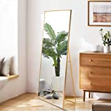 Beauty4U Full Length Mirror Hanging Standing or Leaning, Bedroom Mirror Floor Mirror Wall-Mounted Mirror with Alloy…
