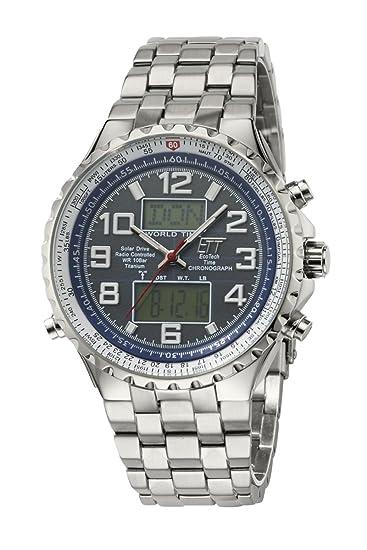 Eco Tech Time Solar Drive Funk Professional Reloj de hombre EGS de 11327 - 80 M, World Timer, Acero inoxidable Reloj de pulsera: Amazon.es: Relojes