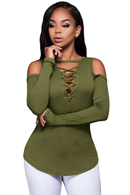 3258aa2406 New Ladies Khaki Lace Up Front Cold Shoulder Long Sleeve Ribbed Top Club  Wear Summer Casual Tops Size S UK 8-10 EU 36-38  Amazon.co.uk  DIY   Tools