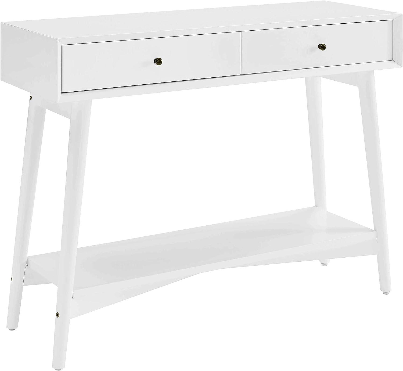 Crosley Furniture Landon Mid-Century Modern Console Table, White