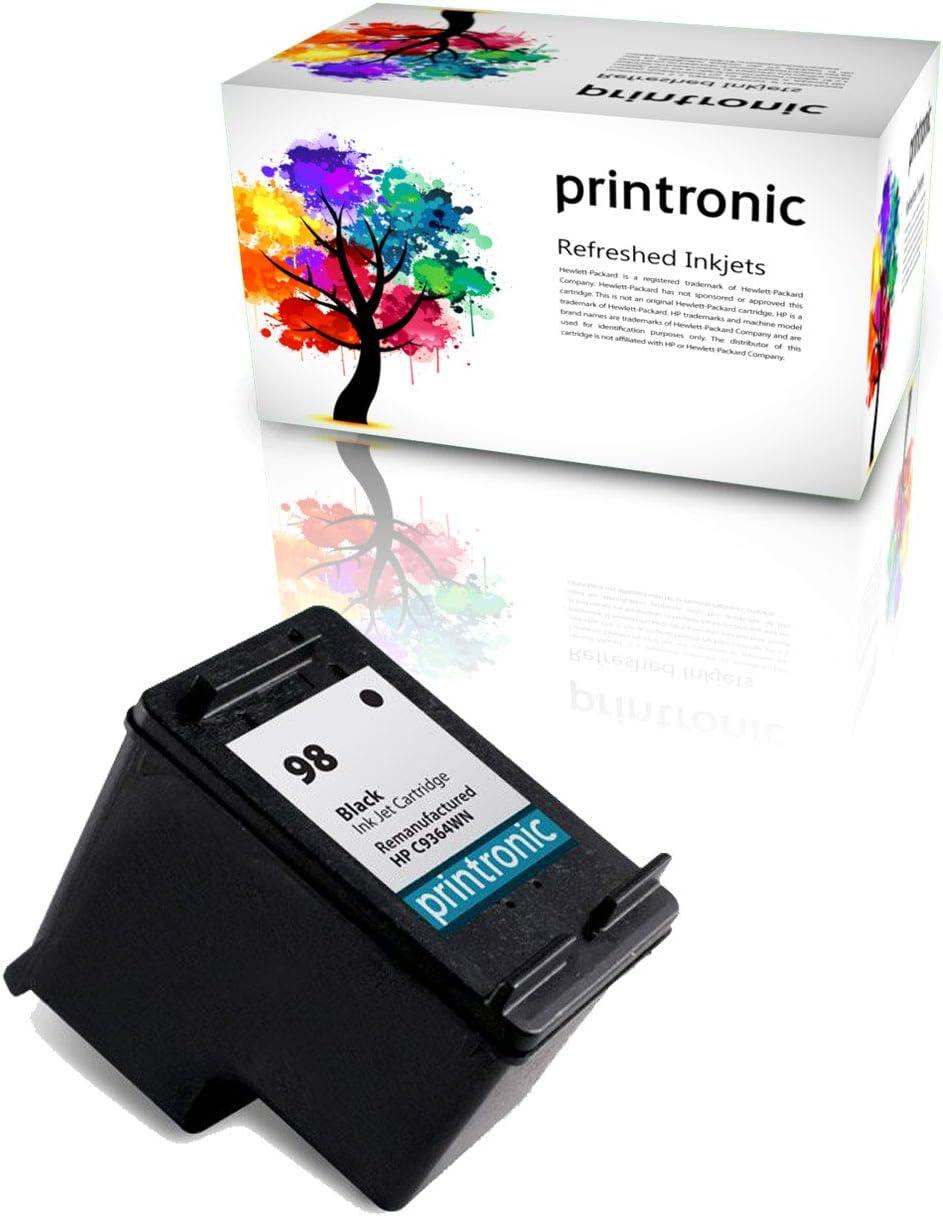 Printronic Remanufactured Ink Cartridge Replacement for HP 98 for DeskJet D4145 OfficeJet H470 6310 PhotoSmart C4100 D5060 (1 Black)