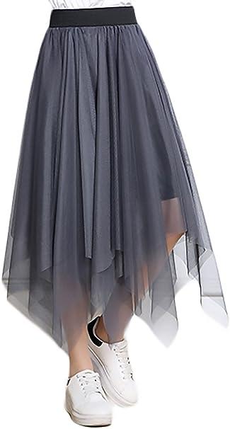 Faldas Mujer Verano Malla Cintura Falda Esencial Larga Alta ...