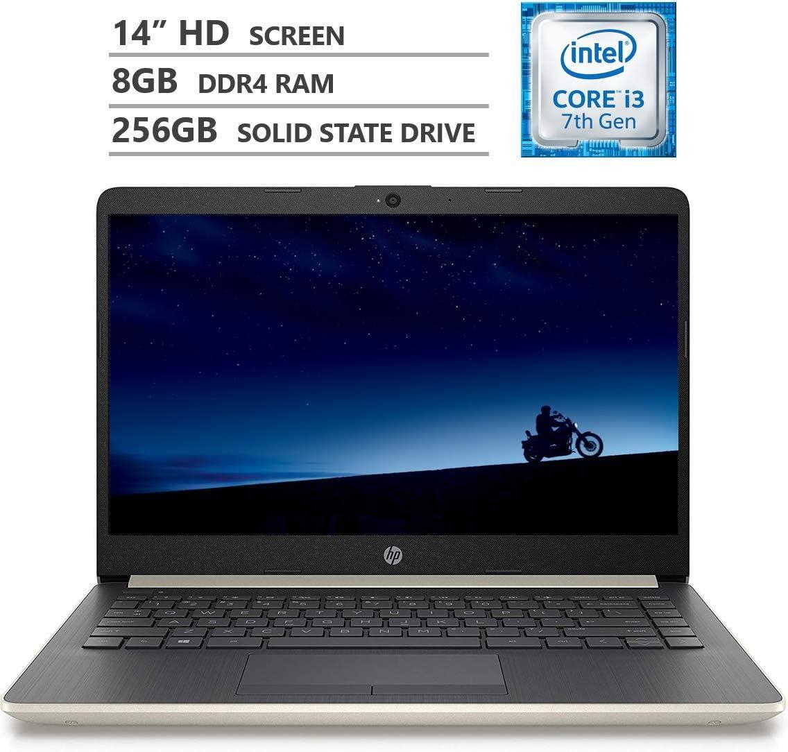 "HP Notebook 14"" HD WLED-Backlit Screen Laptop, Intel Core i3-7100U 2.40GHz Dual-Core Processor, 8GB Memory, 256GB M.2 Solid State Drive, HDMI, 802.11 b/g/n, Bluetooth 4.2, Windows 10 Home, Pale Gold"