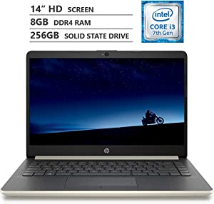 "HP Notebook 14"" HD WLED-Backlit Screen Laptop, Intel Core i3-7100U 2.40GHz Dual-Core Processor, 8GB Memory, 256GB M.2 Solid State Drive, HDMI, 802.11 b/g/n, Bluetooth 4.2, Windows 10 Home, Pale Gold"