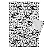 Roostery Shark Whale Black and White Ocean Seahorse Baby Summer Tea Towels Ocean Animals Shark Whale by Charlottewinter Set of 2 Linen Cotton Tea Towels