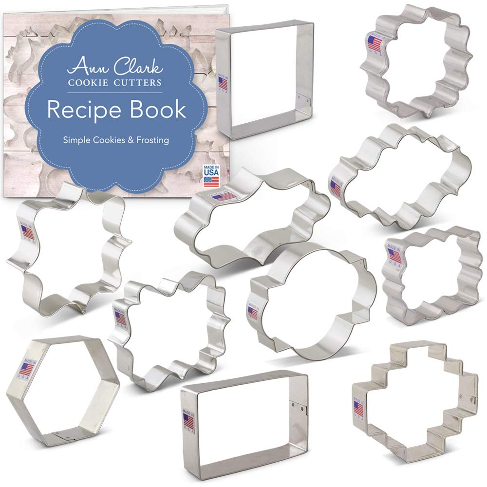 Plaque, Frame & Tile Cookie Cutters Set with Recipe Booklet - 11 piece - Variety Pack - Ann Clark - USA Made Steel