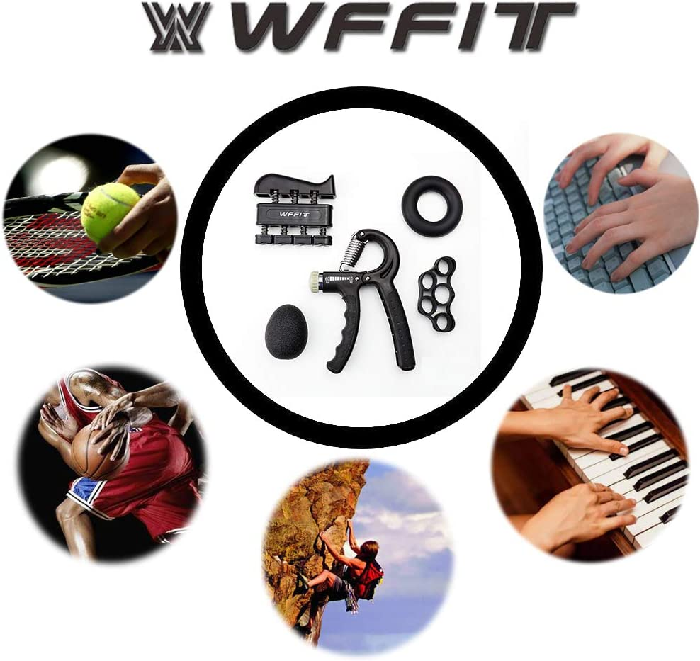 Finger Exerciser Finger Stretcher 33-132 Lbs Adjustable Resistance Grip Strength Trainer Hand Exercise Ball 5 Pack WFFIT Hand Grip Strengthener Grip Ring
