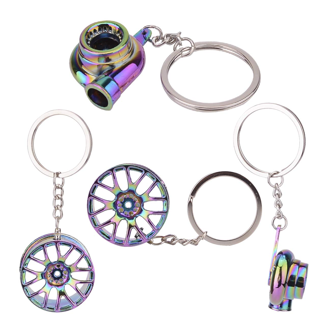 Colorful Turbo Keychain Blue Brake Rotor Keychain Black Manual Gearbox Keychain Colorful Tire Rim Keychain Febrytold 5 Pcs Car Parts Model Key Chains Red Spring Shock-Absorber Keychain