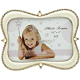 Lovely Metal Picture Frame with Gold Plated Ivory Enamel and Crystals 3.5 x5 Inch