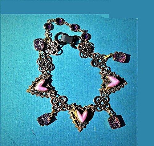 Victorian Brass Openwork Celluloid Hearts Bracelet, Copper Filigree Findings, Purple Faceted Crystal Rhinestone Dangles Bracelet ()