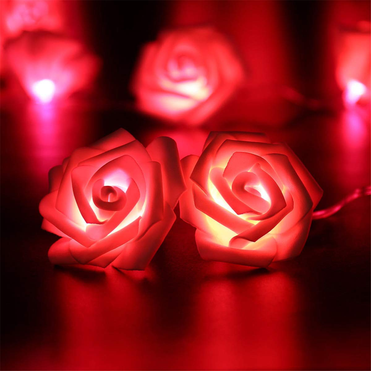 10er LED Rosen Lichterkette Batteriebetrieben 1 Meter Innen Beleuchtung f/ür Weihnachten Hochzeit Valentinstag Zimmer Dekoration