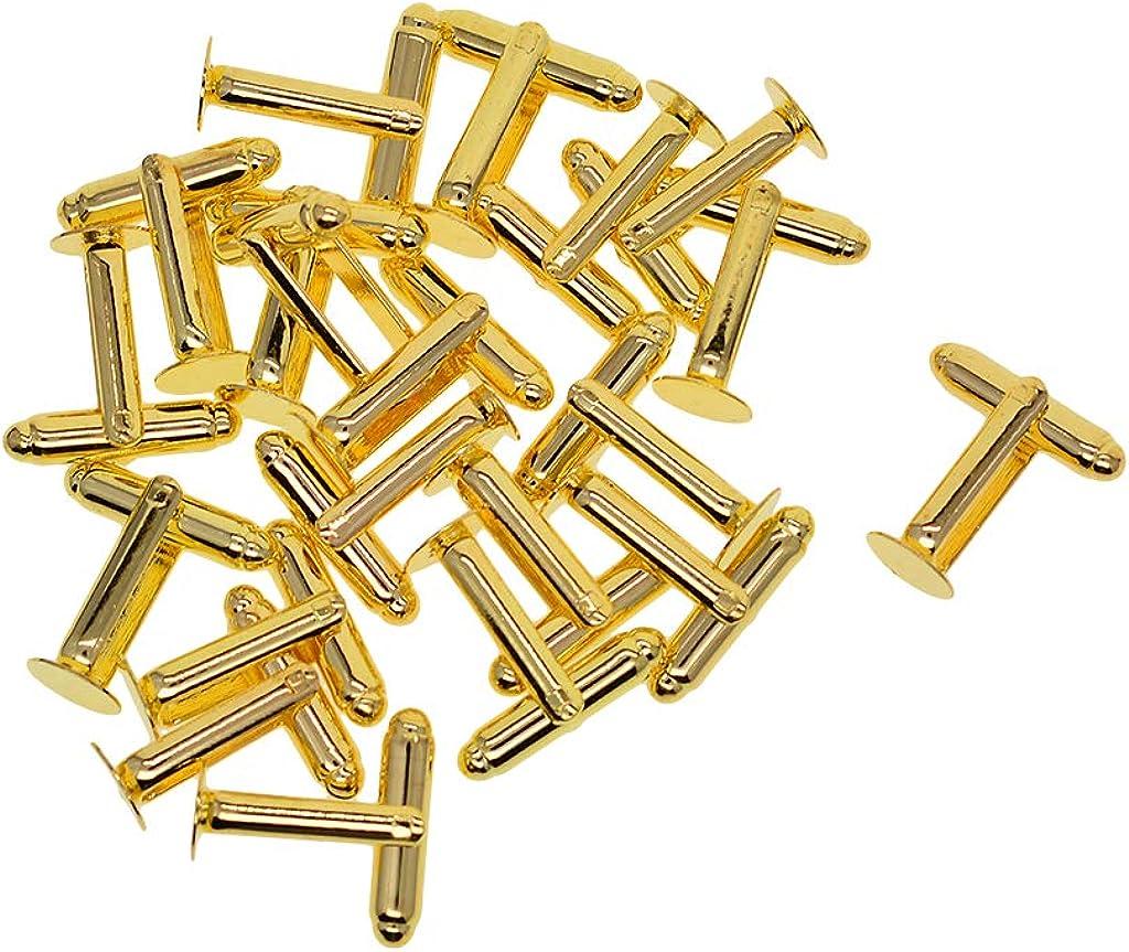 Fujiyuan 20 Pcs 10 pairs 12mm 1//2 Cufflinks Copper Pad Round Blank Cuff Links Gold