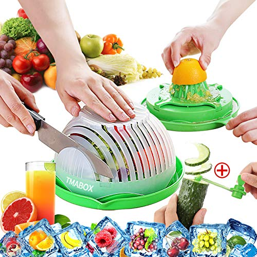 TMABOX Salad Cutter Bowl,Second Generation Juice Making and Salad Make,Fruit Vegetable Salad Chopper Set,Two Person Size,Green