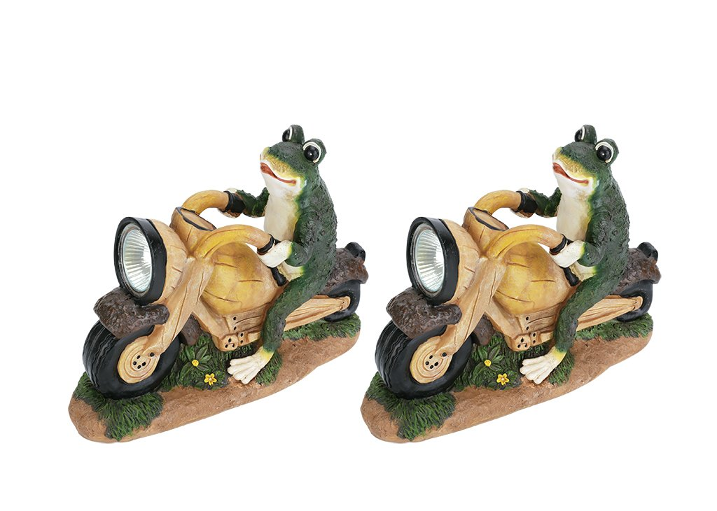 Aspen Creative 60900 Two Pack Set, Frog On A Motorcycle Solar Led Accent Light Statue, 10'' Length