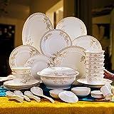 High-class Handmade Artwork 56pcs Dinnerware Sets Bowls Plates Spoons Dish Tray Jingdezhen Handmade Artwork Ceramics Chinaware Porcelain Bowl Dinnerware Bowl Sets (56, Pattern-01)