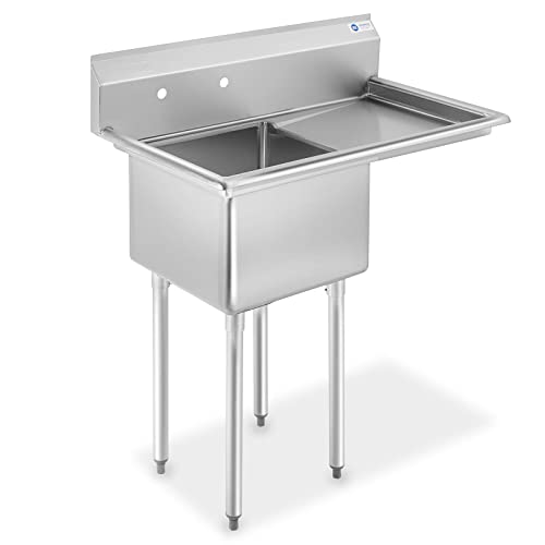 GRIDMANN NSF Stainless Steel 18 Single Bowl Commercial Kitchen Sink with Right Drainboard – 12 in. Deep