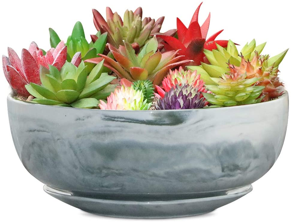 8in Marble Large Round Succulent Planter Pot Modern Flower Pot Indoor and Outdoor Planter with Marble Tray