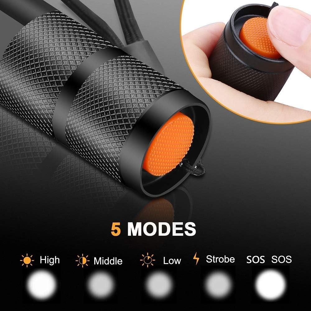 Linterna t/áctica de la antorcha LED de bolsillo Super brillante 2000 l/úmenes Antorcha LED de bolsillo de la linterna port/átil T6 de XML T6 Foco ajustable Zoomable con 5 modos de luz