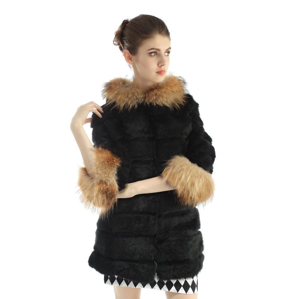Vemolla Abrigo de piel de conejo de las muchachas naturales