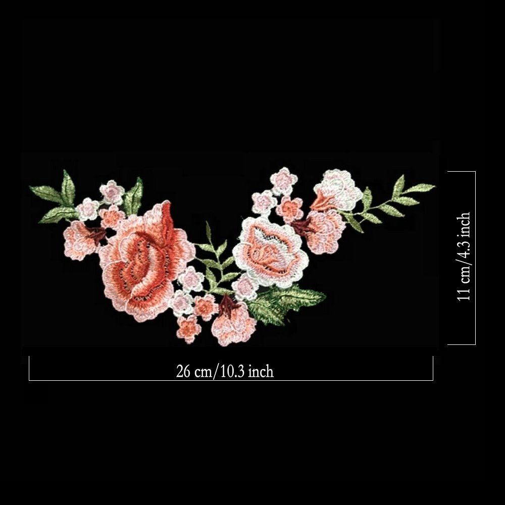 2pcs Beautiful Flowers Embroidered Iron on Applique Patches Color A Light Pink