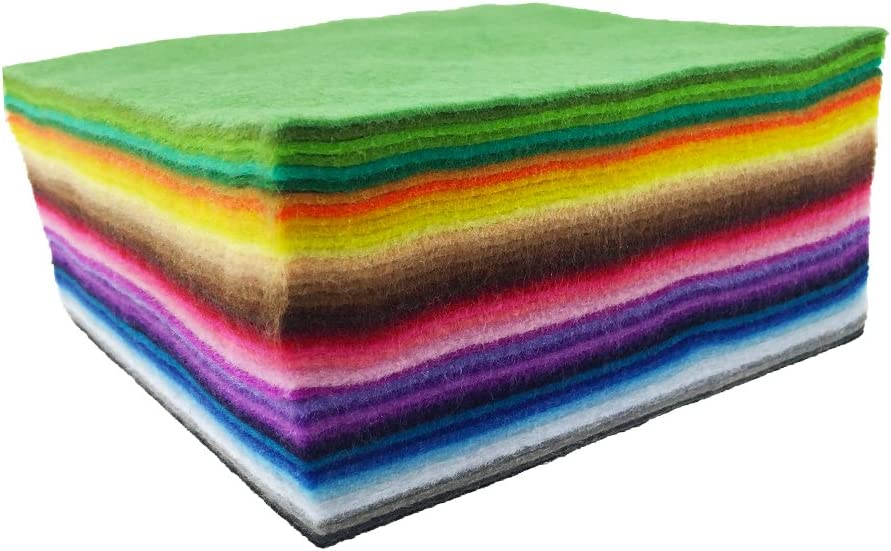 flic-flac 42pcs1.4mm Thick Soft Felt Fabric Sheet Assorted Color Felt Pack DIY Craft Sewing Squares Nonwoven Patchwork (15cm 15cm)