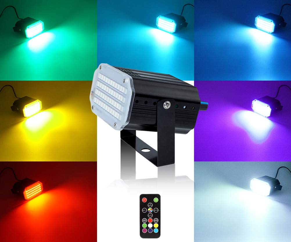 Mini Stage Strobe Light with 48 Super Bright Led, softeen 7 Colors Sound Activated Stage Lighting Automated Flash Mode Adjustable Flash Speed Control, Wireless Remote, Ideal for Wedding Disco Party by softeen