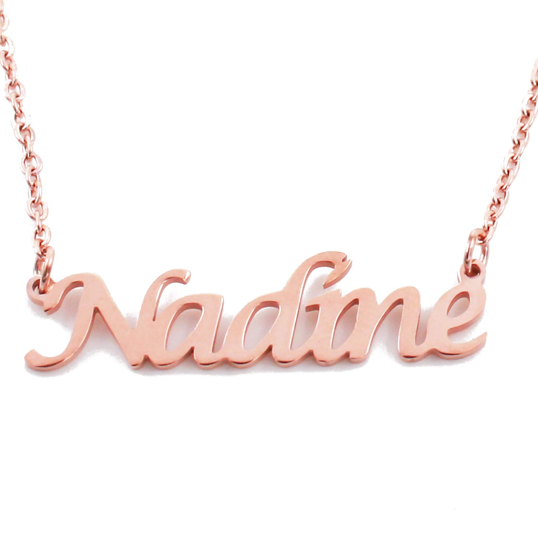 18ct Rose Gold Plated Kigu Nadine Custom Name Necklace Personalized