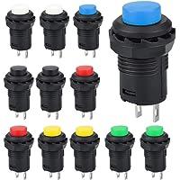 GOLRISEN 12 stuks mini-drukknopschakelaar, drukknopschakelaar, 250 V/1,5 A, 125 V/3 A, drukknop, 6,2 mm, 2 pins…