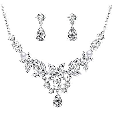 BiBeary Women Zircon CZ Simulated Pearls Tear Drop Flaming elegant Jewellery Set Necklace Earrings Silver-Tone uwvghhKcQ
