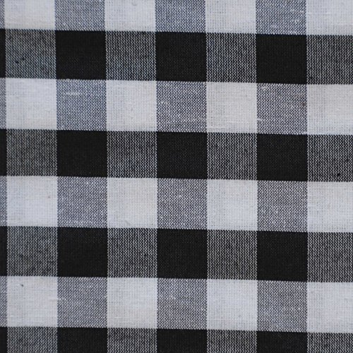 Black and White 3 Piece Gingham Check Kitchen Window Curtain Set: Plaid, Cotton Rich, 1 Valance, 2 Tier Panels (Matching 3 Piece Window Curtain Set) - smallkitchenideas.us