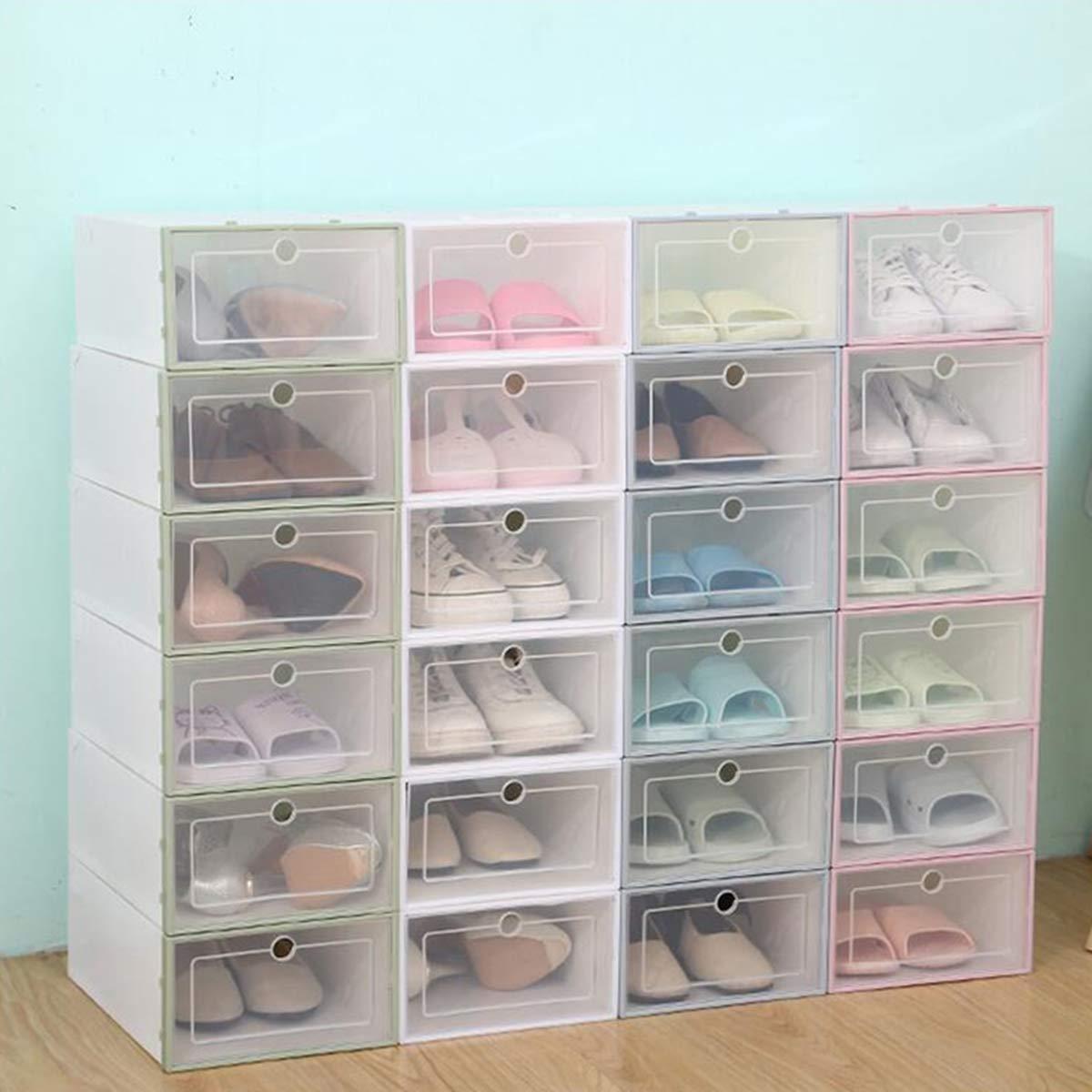 TuToy Cajas De Zapatos De Plástico Transparentes Plegables Case Apilable Tidy De Almacenamiento Organizador Caja Única - Verde