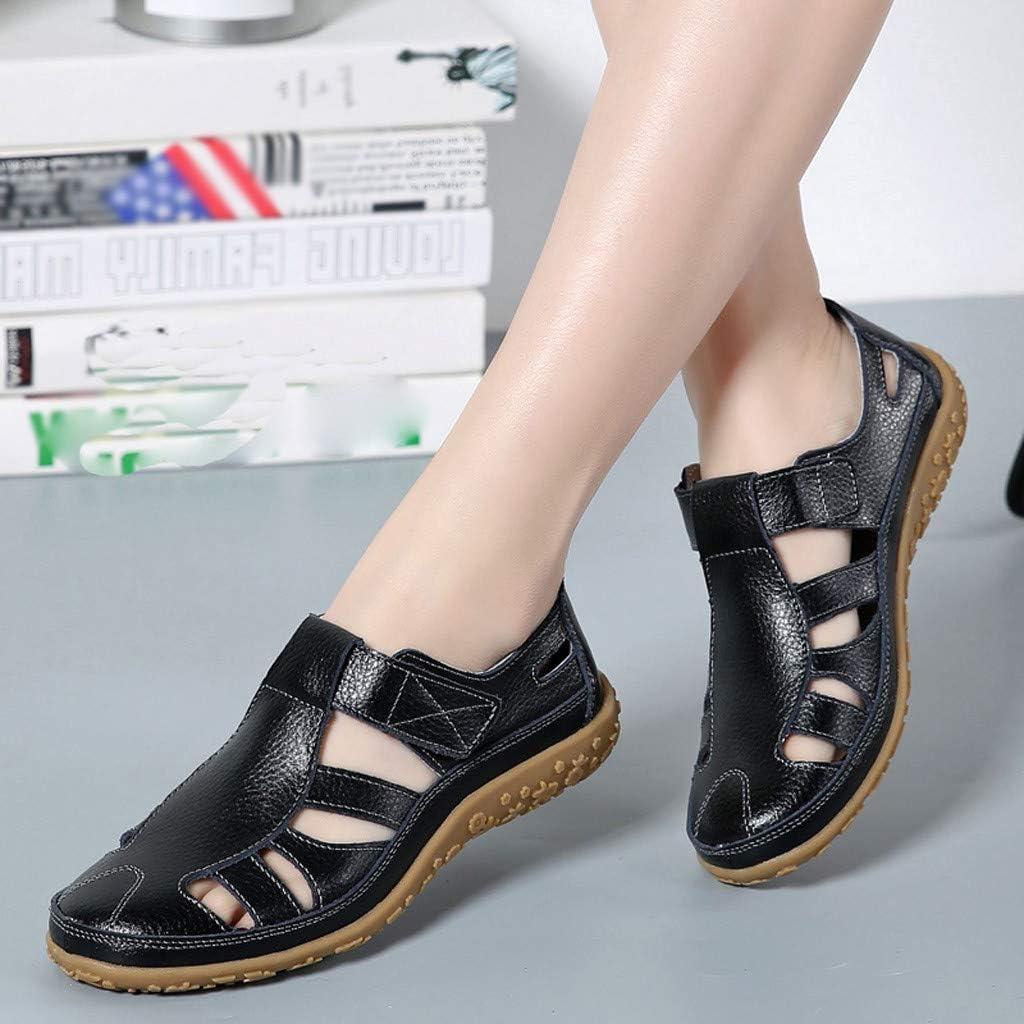 Sandales Femmes Plates Cuir,Womens Chaussures Plates en Cuir Souple Décontractées Sandales Slip Respirant Bout Fermé Chaussures De Sport Sandales De