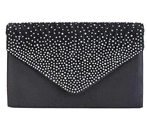 Charming Tailor Clutch Purse Evening Bag Envelope Diamante and Pleated Flap Handbag (Black)