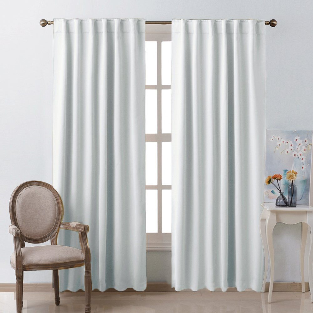 "Living Room Darkening Curtain Drapes - (Greyish White) W52"" x L84"", Set of 2, Room Darkening Window Treatment"